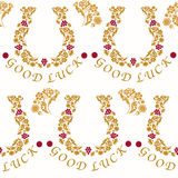 Seamless pattern with horseshoes for good luck Stock Photography