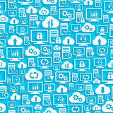 Seamless pattern with hosting cloud icons Royalty Free Stock Image