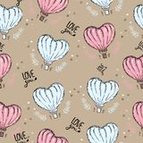 Seamless pattern with hot air balloon, heart vector background. Love you. for wallpaper, Fabric design, web page background, vector illustration