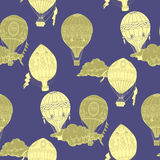 Seamless Pattern with Hot Air Balloons Royalty Free Stock Images