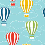 Seamless pattern with  hot air balloons and clouds Stock Photography