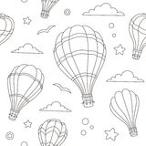 Seamless pattern of hot air balloons on the sky Stock Photography