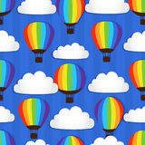 Seamless pattern with Hot Air Balloons in the sky  Stock Photography