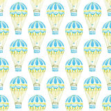 Seamless pattern with hot air-baloons. Hand-drawn background. Vector illustration. Royalty Free Stock Image
