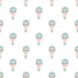 Seamless pattern with hot air-baloons. Hand-drawn background. Vector illustration. Royalty Free Stock Photography