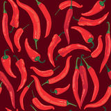 Seamless pattern with hot chilly pepper Royalty Free Stock Images