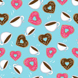 Seamless pattern of hot chocolate and donuts Royalty Free Stock Photos