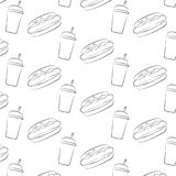 Seamless pattern of hot dog and a Cup with a straw Royalty Free Stock Photo