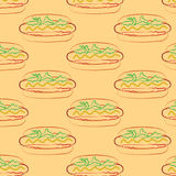 Seamless pattern of hot dog and a Cup with a straw Royalty Free Stock Photography