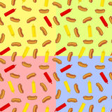 Seamless pattern with hot dogs and bottles. With ketchup and mustard over different colors Royalty Free Stock Photos