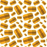 Seamless Pattern Hot Dogs Ornament Oktoberfest Beer Festival Holiday Decoration. Concept Flat Vector Illustration Stock Photography