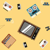 Seamless pattern of household appliances on a yellow. background Royalty Free Stock Image