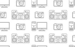 Seamless pattern of household electronics. Stock Photos