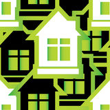 Seamless pattern of houses stock illustration