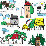 Seamless pattern with houses. Seamless background with different houses Stock Photos