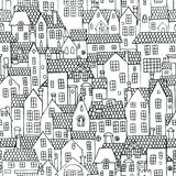 Seamless pattern with houses Stock Photo