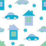 Seamless pattern of houses and cars Stock Photo