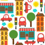 Seamless pattern with houses and cars Stock Image