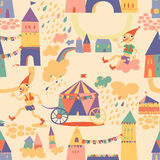 Seamless pattern with houses for children's background. Stock Photos