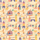 Seamless pattern with houses for childrens background. Royalty Free Stock Photos