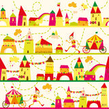 Seamless pattern with houses for childrens background. Royalty Free Stock Images