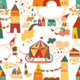 Seamless pattern with houses for childrens background. Vintage c Royalty Free Stock Photo