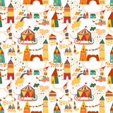 Seamless pattern with houses for childrens background. Royalty Free Stock Image