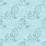 Seamless pattern, houses contours and trees Stock Image