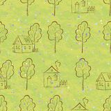 Seamless pattern, houses contours and trees Stock Photo