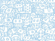 Seamless pattern with houses and courtyards Royalty Free Stock Photography