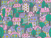 Seamless pattern with houses and courtyards. Seamless pattern or vector background of the old european city with small funny houses in a courtyard and trees Royalty Free Stock Images