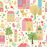 Seamless pattern with houses. Seamless pattern with cute cat and bird houses. Children's illustration, background for your design Royalty Free Stock Photos