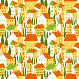 Seamless pattern with houses. Cute city vector illustration. Arc Royalty Free Stock Photos