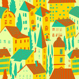 Seamless pattern with houses. Cute city vector illustration. Arc vector illustration