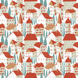 Seamless pattern with houses. Cute city vector illustration. Arc stock illustration