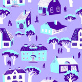 Seamless pattern with houses. Cute town vector illustration. Arc Stock Images