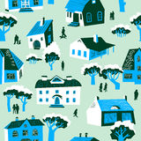Seamless pattern with houses. Cute town vector illustration. Arc vector illustration
