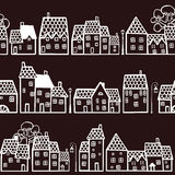 Seamless pattern with houses. Dark seamless pattern with town Stock Photos