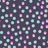 Seamless pattern of houses. And flowers Royalty Free Stock Photos