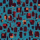 Seamless pattern with houses in the night Stock Image