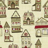 Seamless pattern with houses. Seamless pattern with old styled medieval retro houses stock illustration