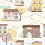 Seamless pattern with houses, paths, trees Stock Photos
