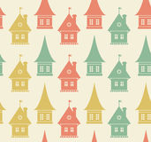 Seamless pattern with houses. Simple geometrical t Royalty Free Stock Images