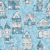 Seamless pattern with houses and snowflakes. Seamless winter pattern with old styled medieval retro houses and snowflakes royalty free illustration