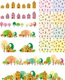 Seamless pattern houses with trees Royalty Free Stock Photo