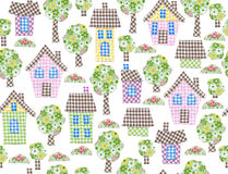 Seamless pattern  houses and trees. Stock Images