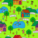 Seamless pattern with houses, trees and people Royalty Free Stock Photos