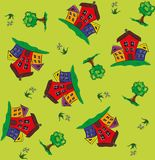Seamless pattern with houses and trees. Seamless pattern with stylized houses and trees for baby diapers, clothes stock illustration