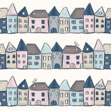 Seamless pattern with houses. Vector illustration Stock Photography