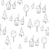 Seamless pattern. Houses on a white background. Vector vector illustration